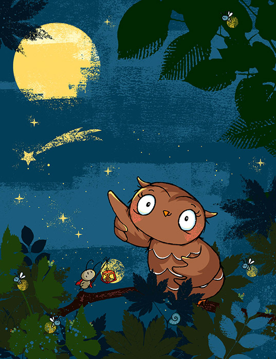 Die kleine Eule fliegt zu den Sternen