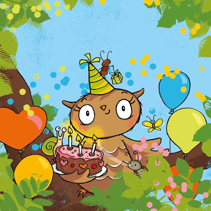 Die kleine Eule hat Geburtstag